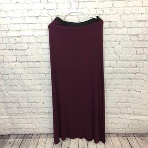 Free People Dark Purple Elastic Waist Maxi Skirt